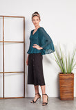 Pleated Batwing Organza Top