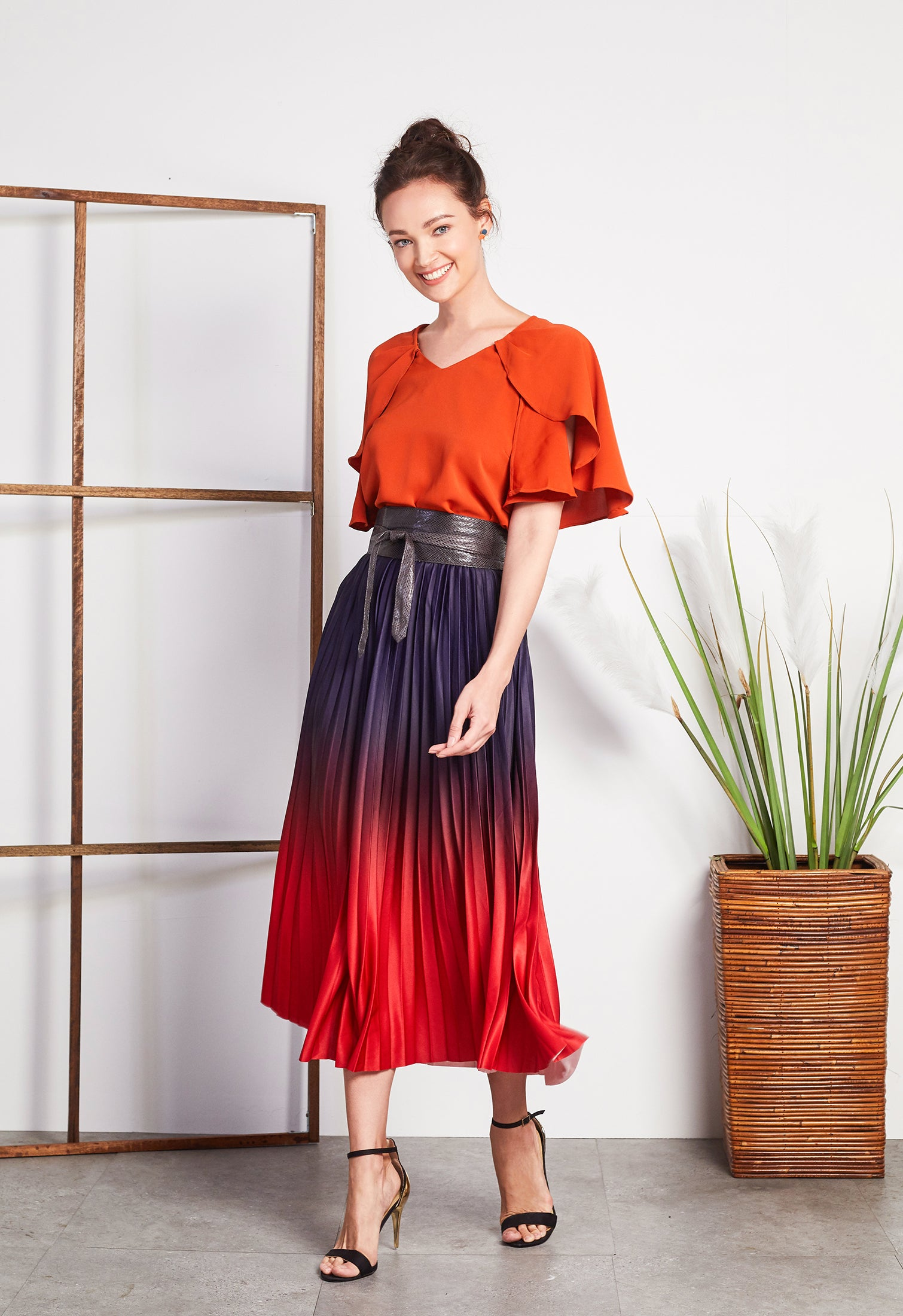 Ombre Pleated Skirt