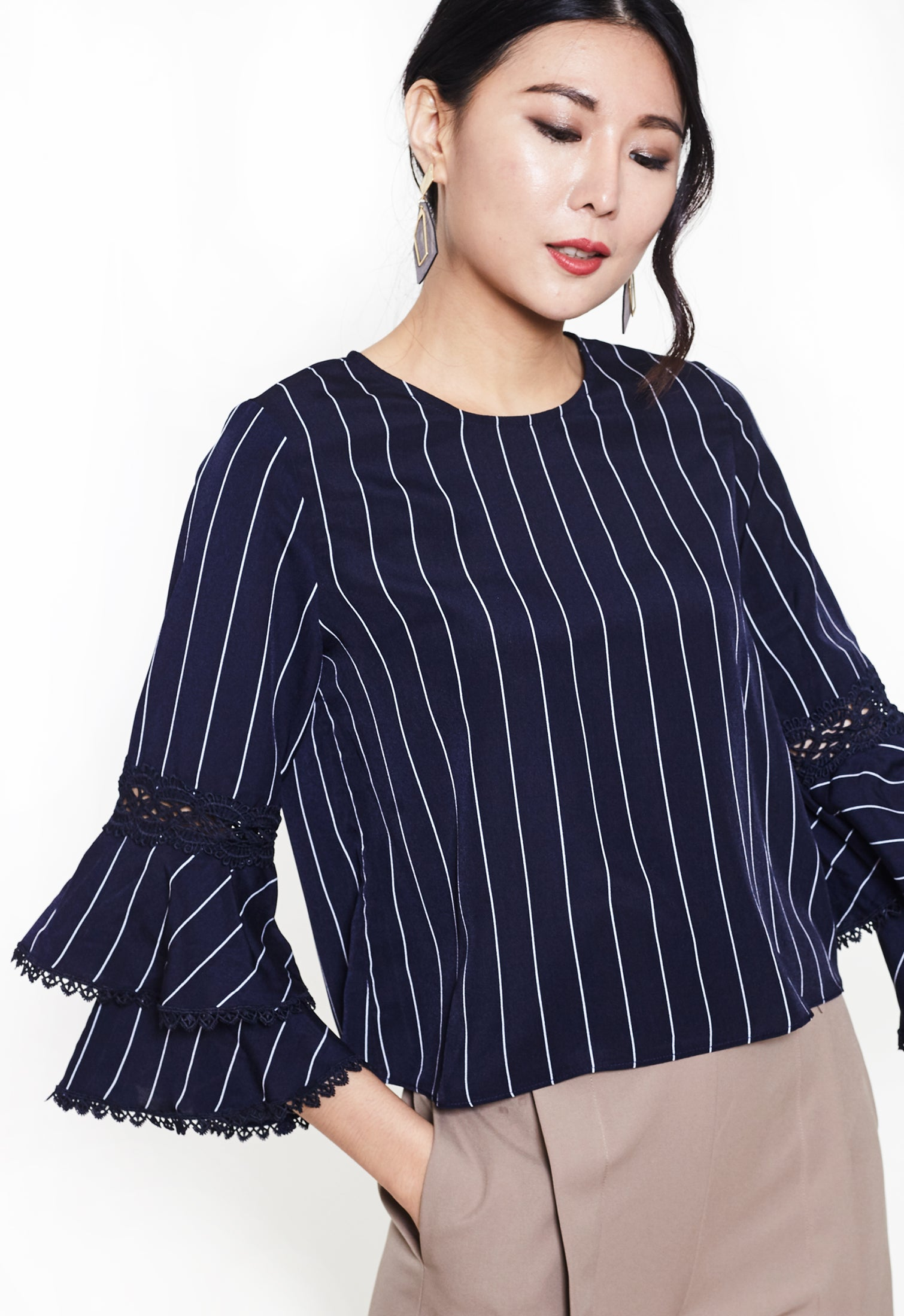 Striped Blouse with Laced Flounce Sleeve