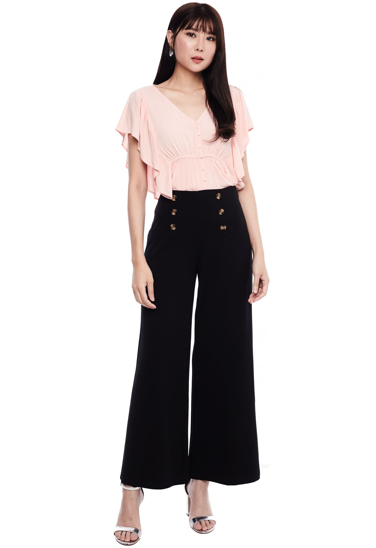 Cinched Waist Buttoned Crop Top