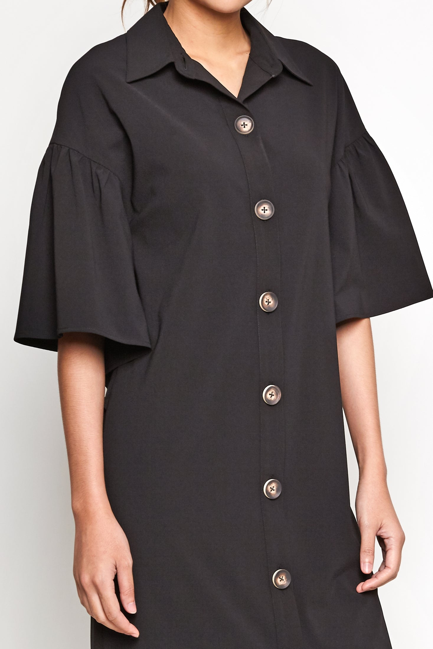 Butterfly Sleeve Shirtdress