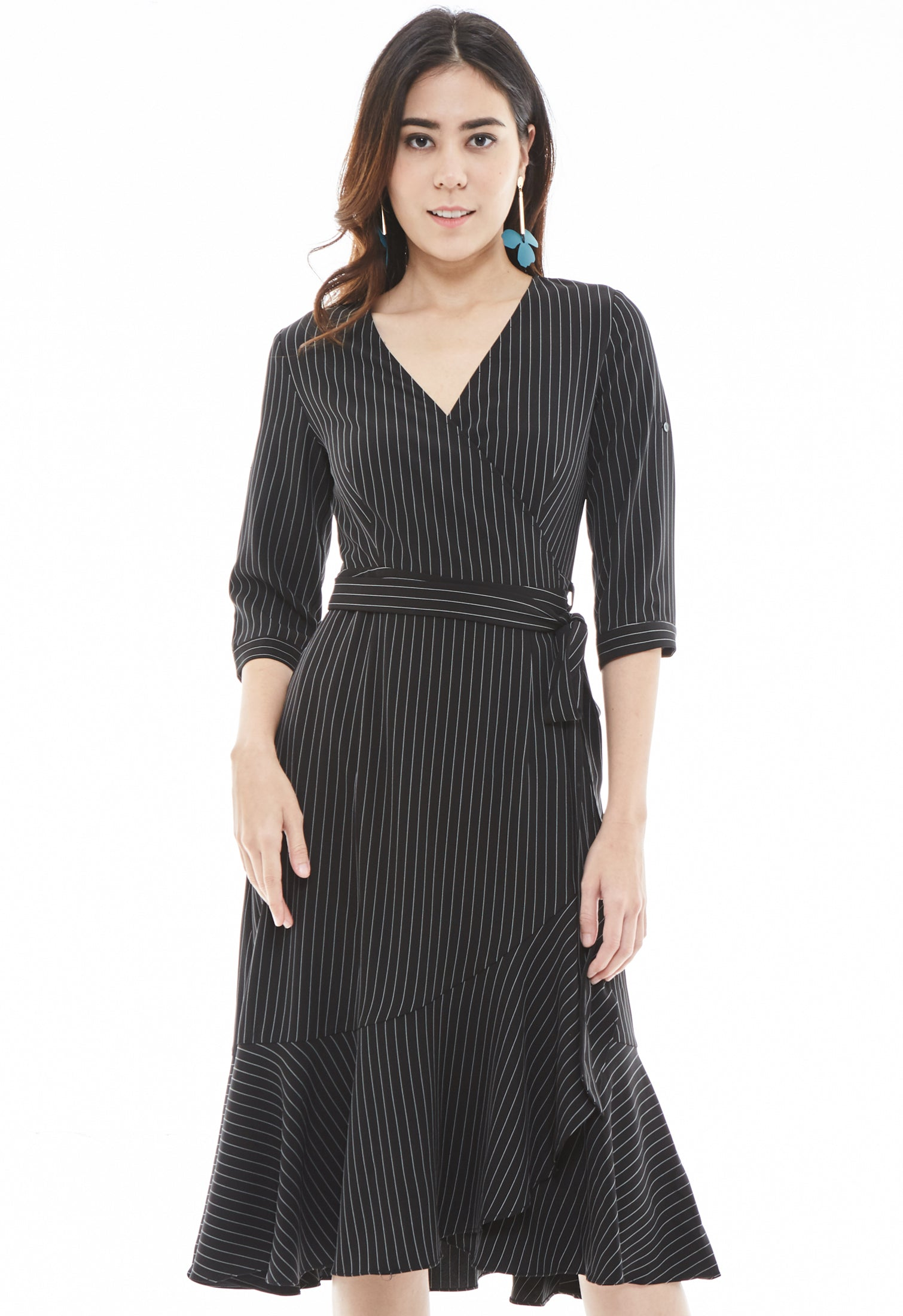 Striped Trumpet Wrap Dress