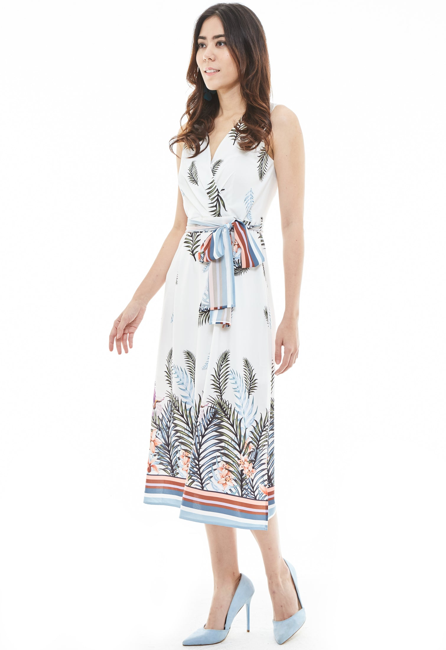Sleeves Tropical Print Wrap Dress
