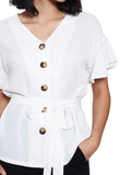 Waist Tie Button Blouse