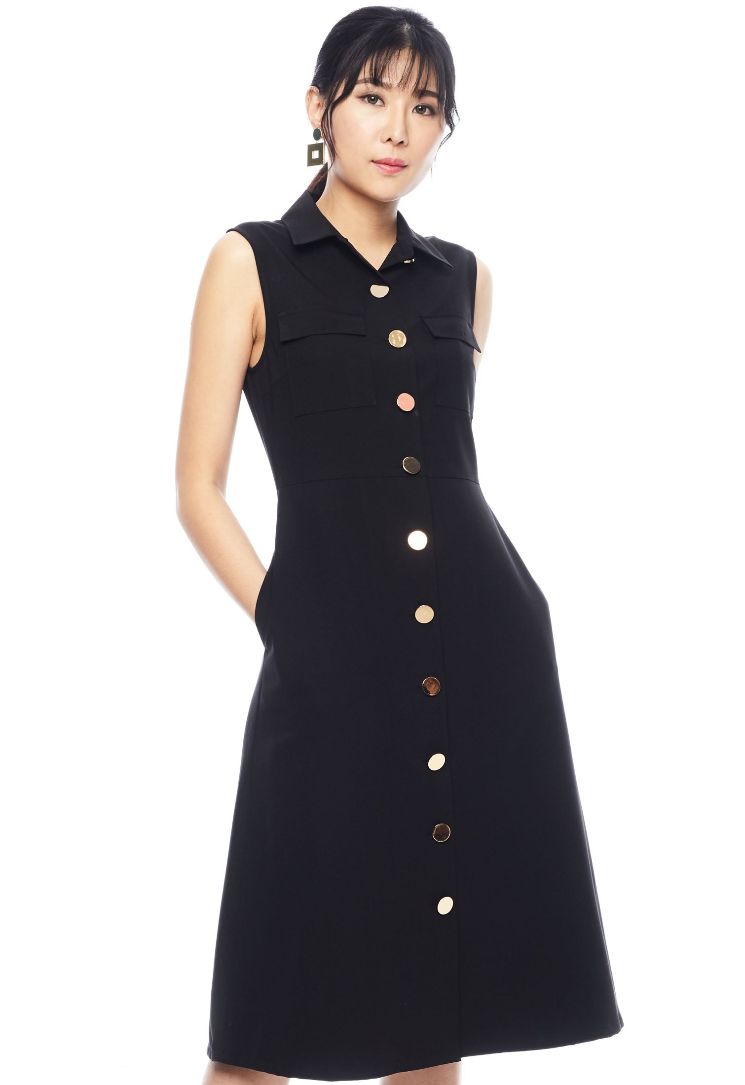 Sleeveless Button Down Sheath Dress
