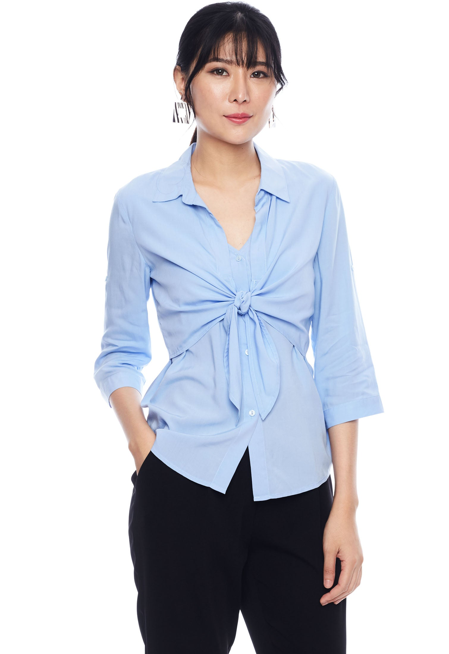Tie Front Long Sleeve Shirt