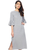 Glen Plaid Flounce Sleeve Shift Dress
