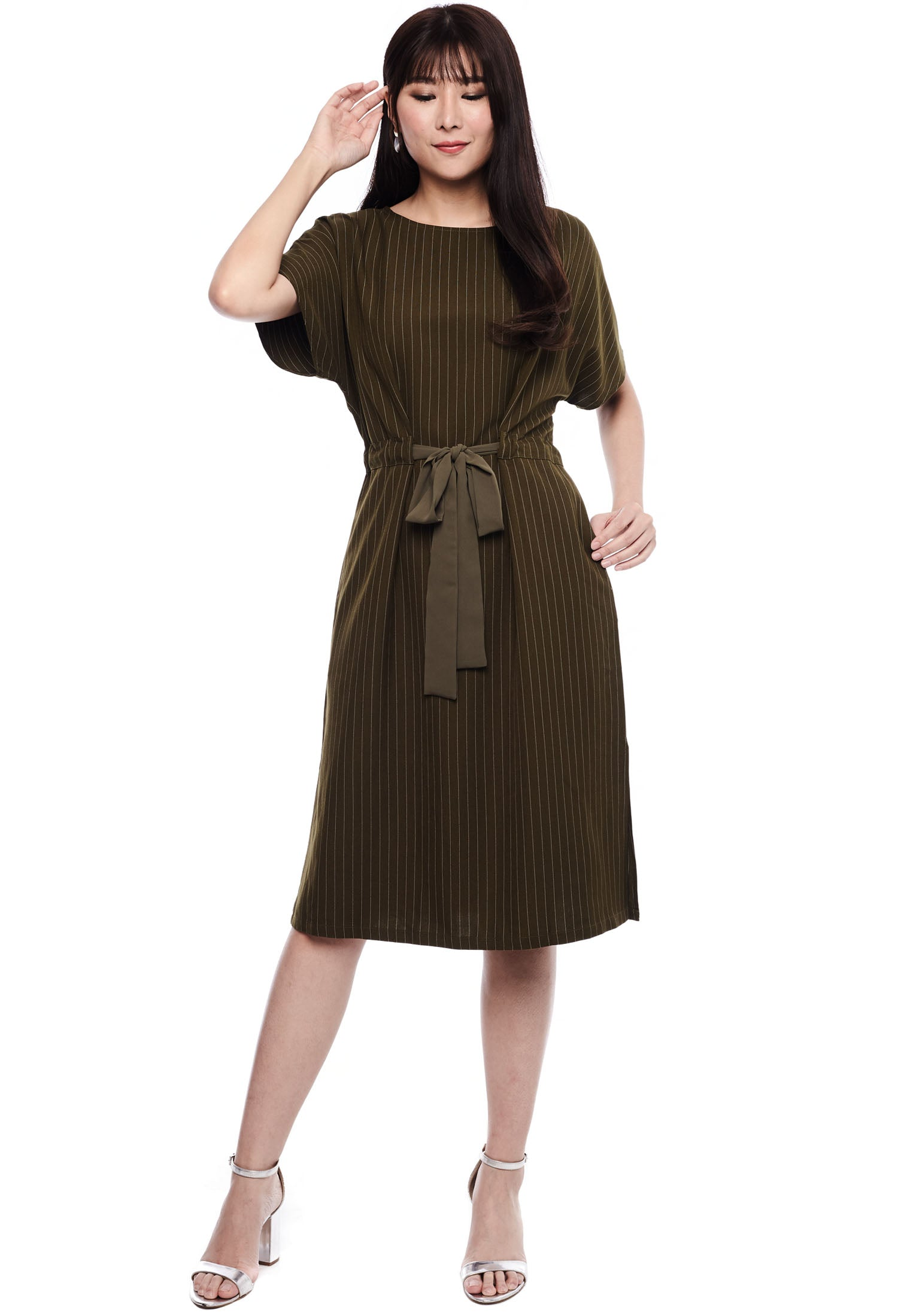 Pinstripe Waist Tie Dress