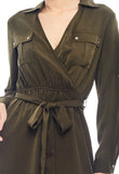 Vintage Waist Tie Collared Dress