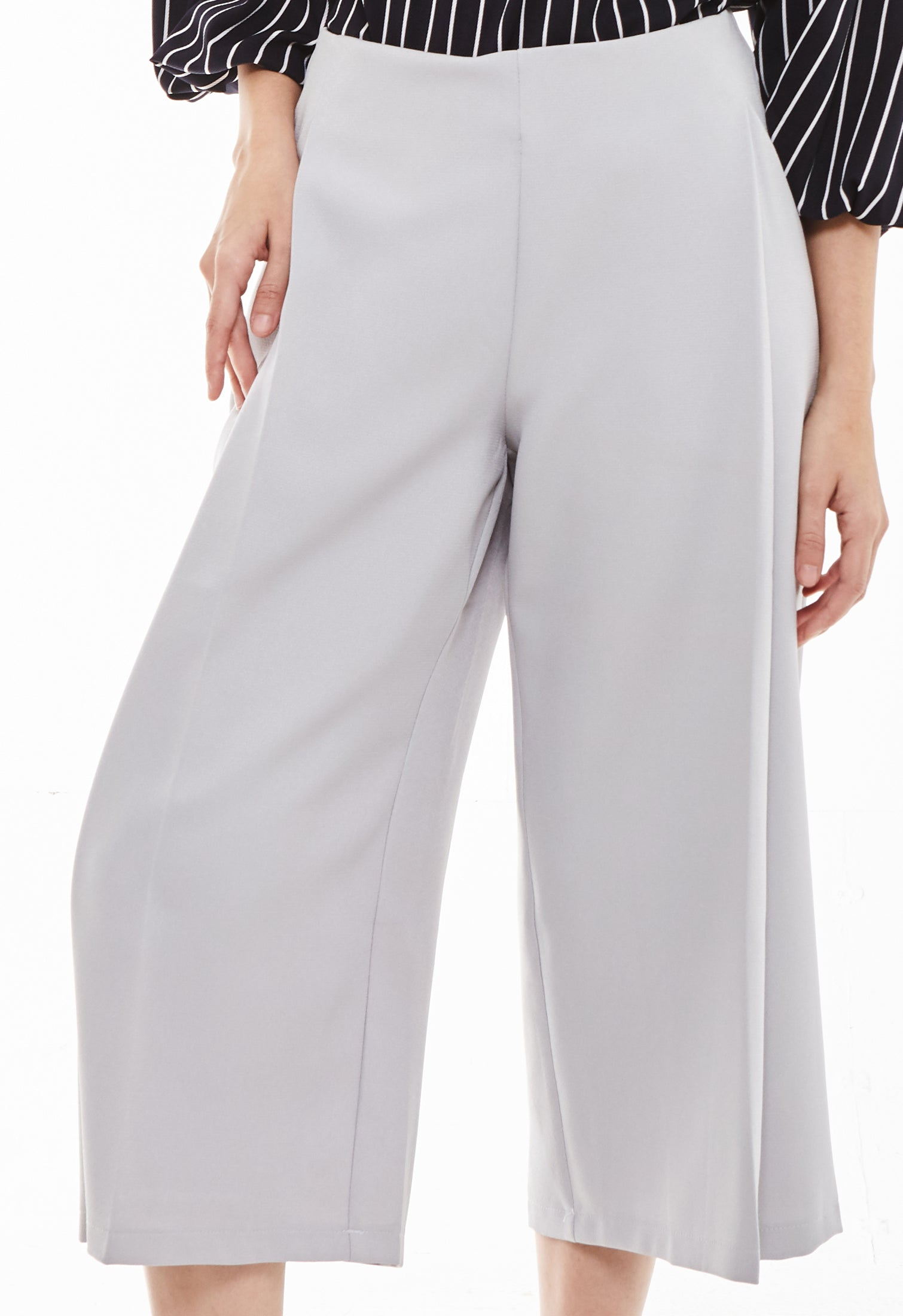 Single Pleat Wide Leg Cropped Pants