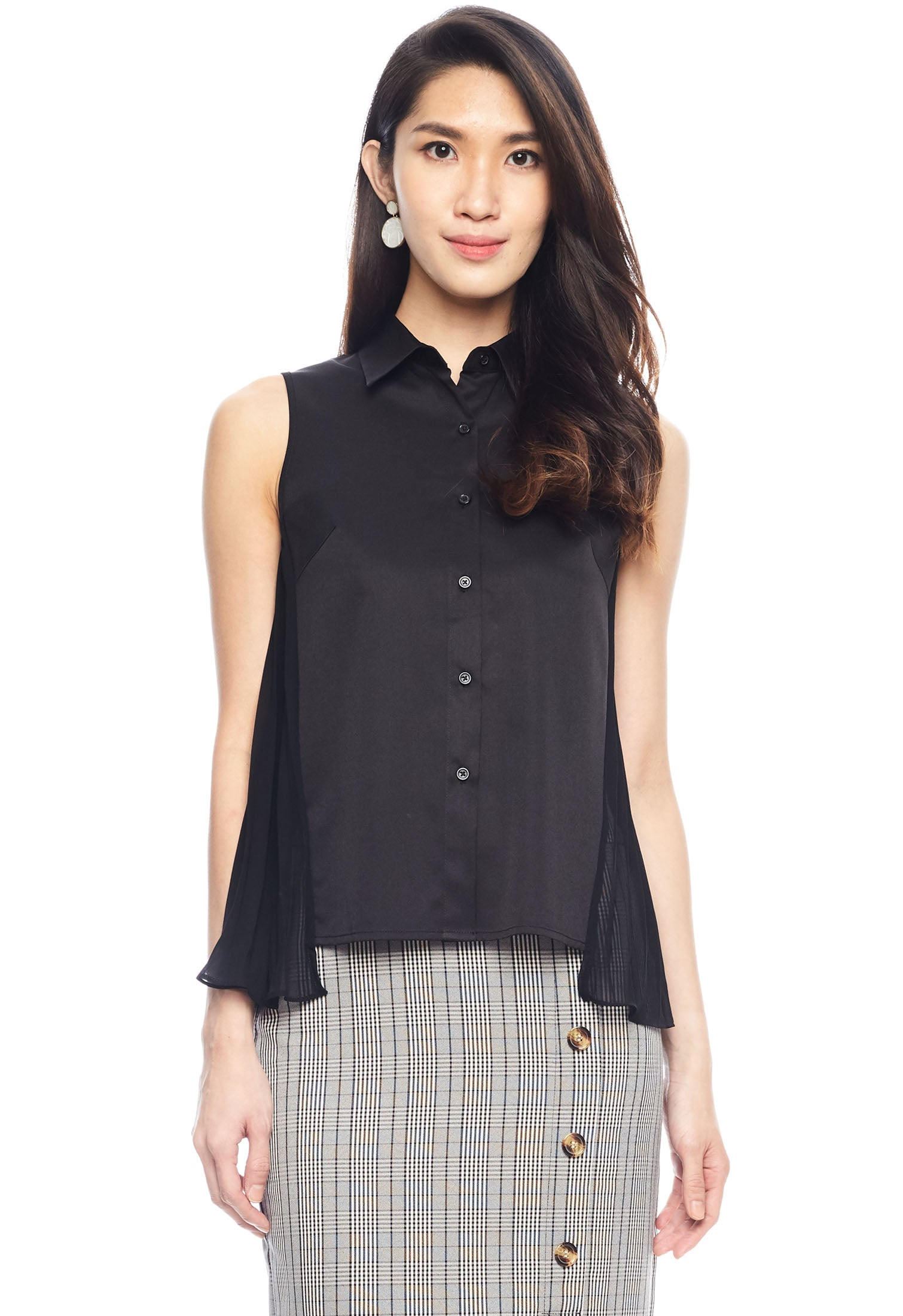 Side Accordion Pleated Sleeveless Blouse