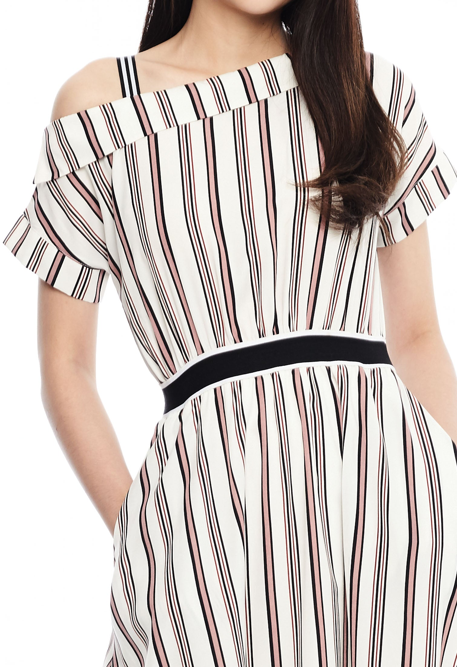One Shoulder Shadow Stripe Dress