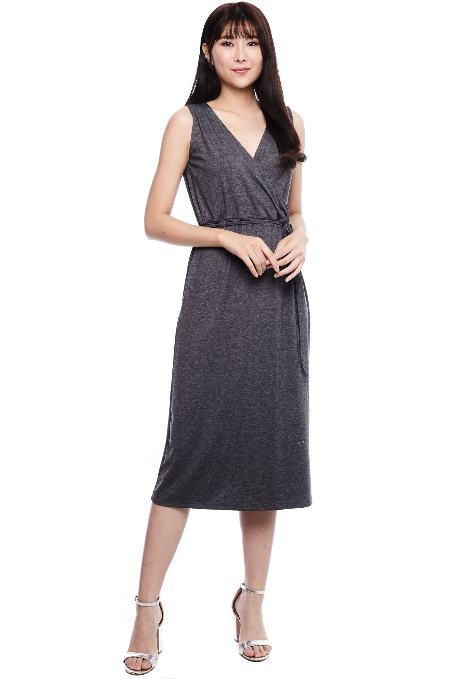 Basic Drawstring Waist Midi Dress