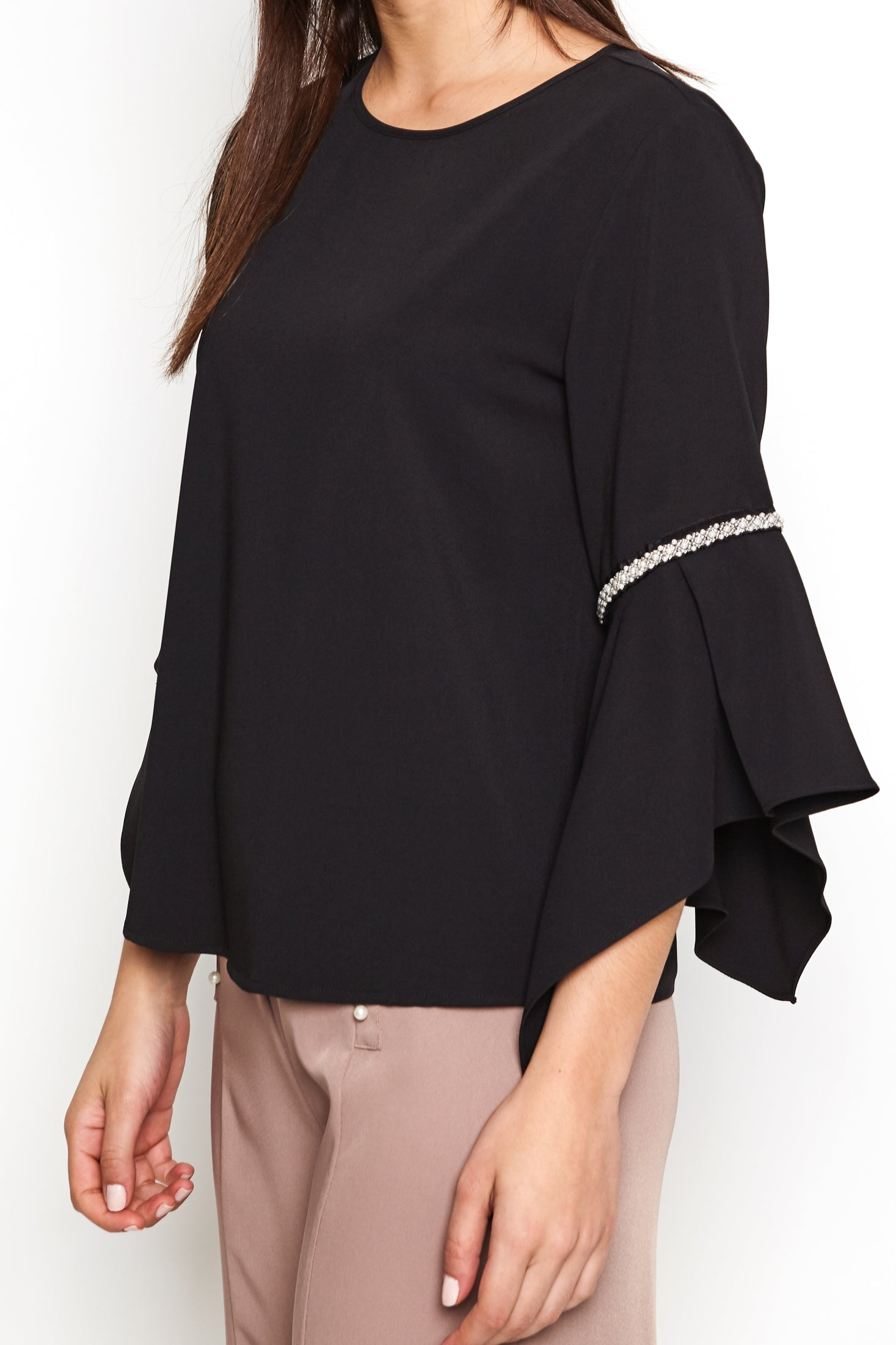 Beaded Split Bell Sleeve Blouse
