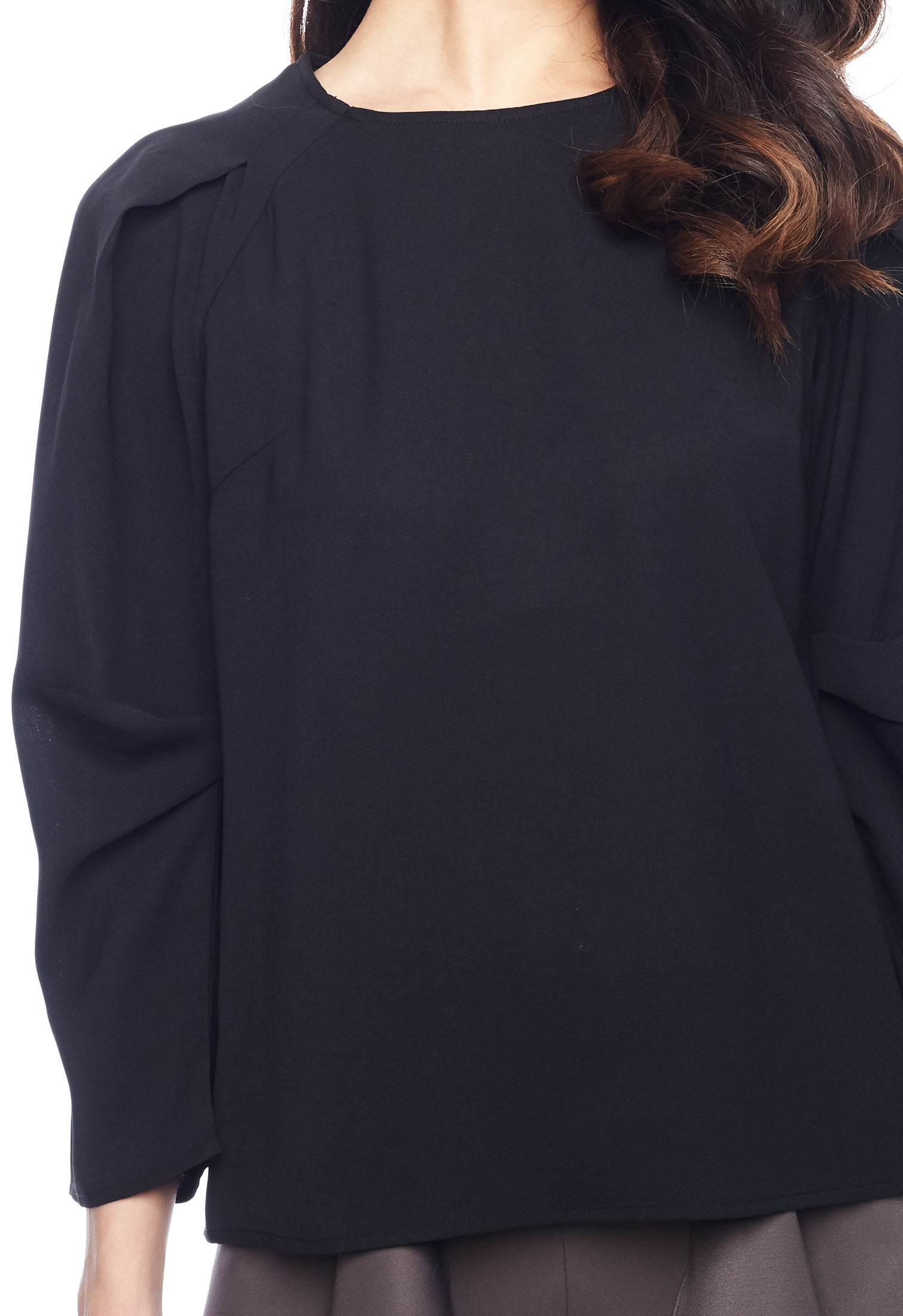 Pleated Lap Over Sleeve Top