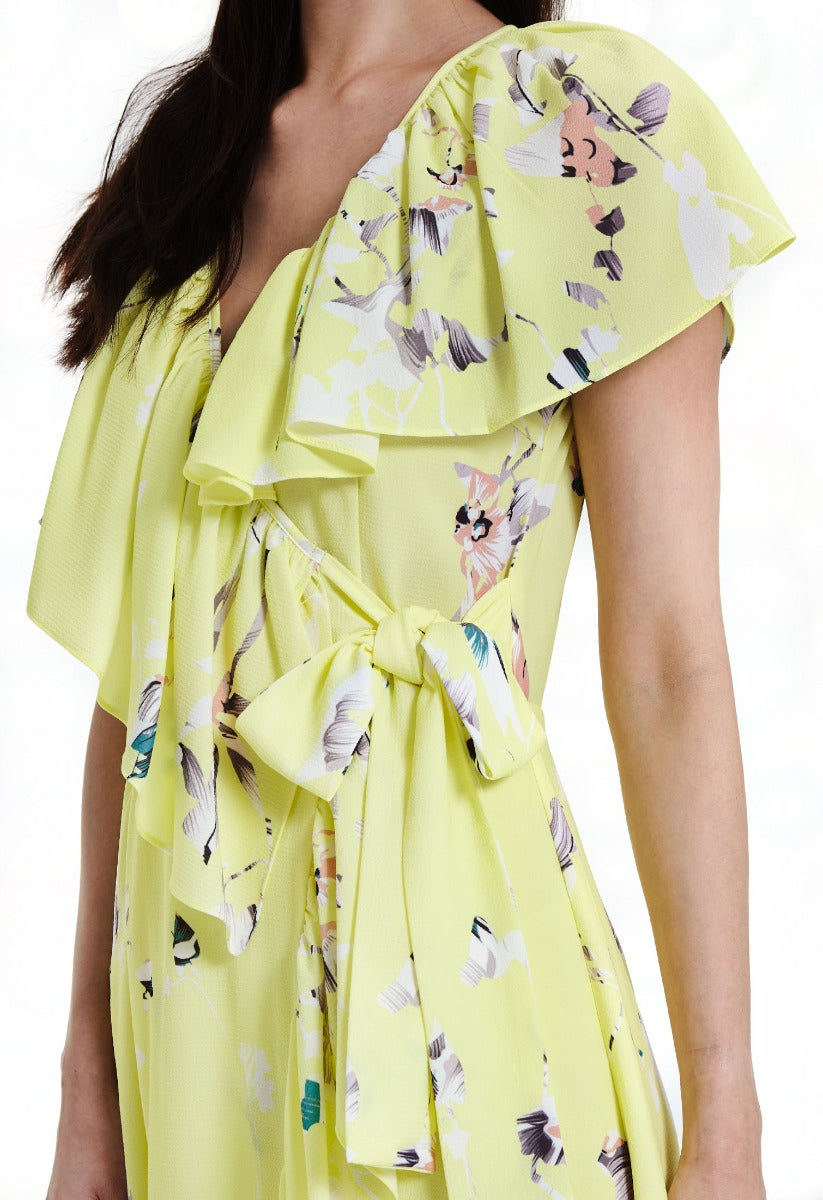 Floral Ruffle Wrap Long Dress