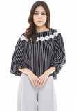 Striped Bishop Sleeve Top with Floral Embellishment