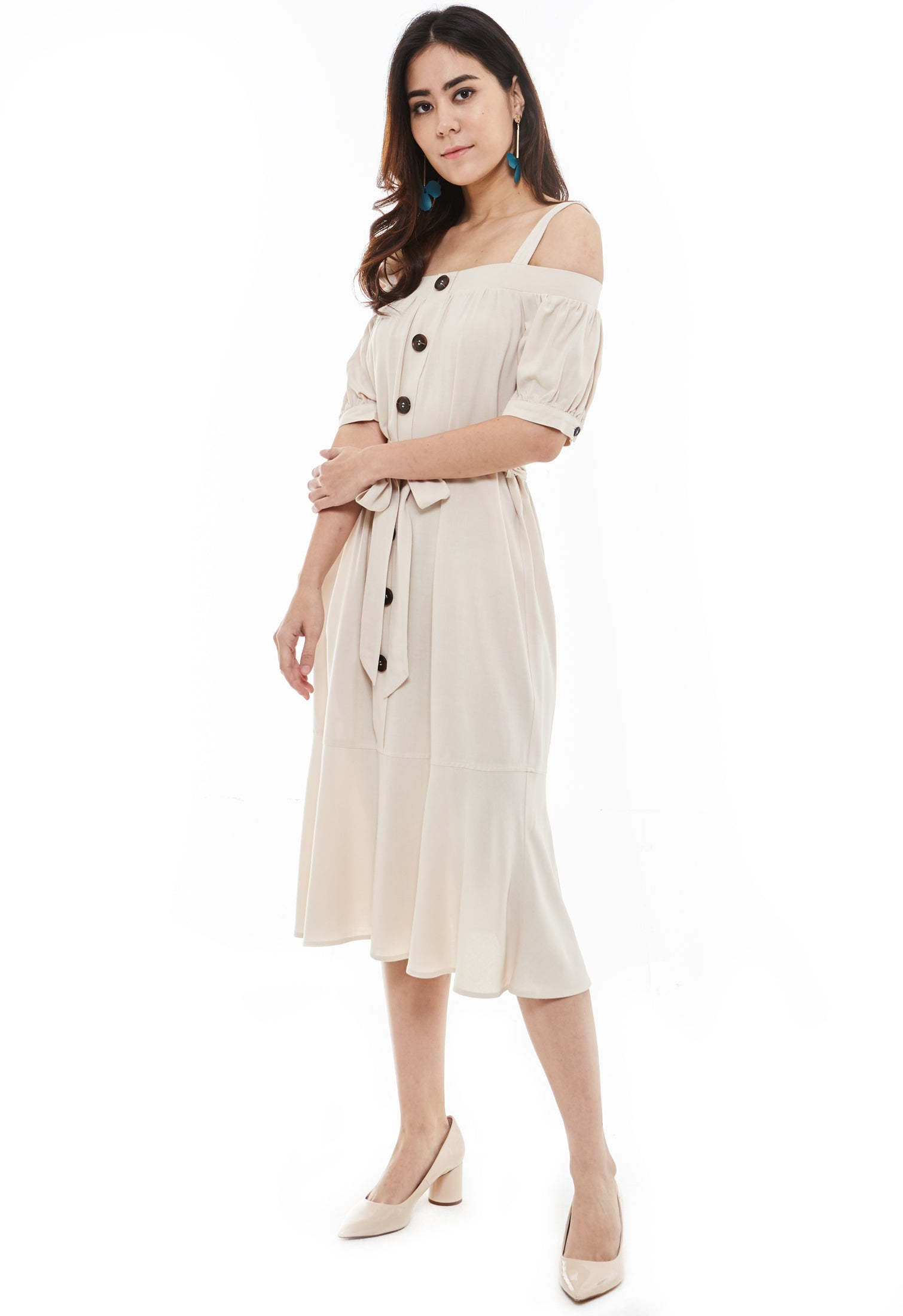 Off Shoulder Dress with Button Detail