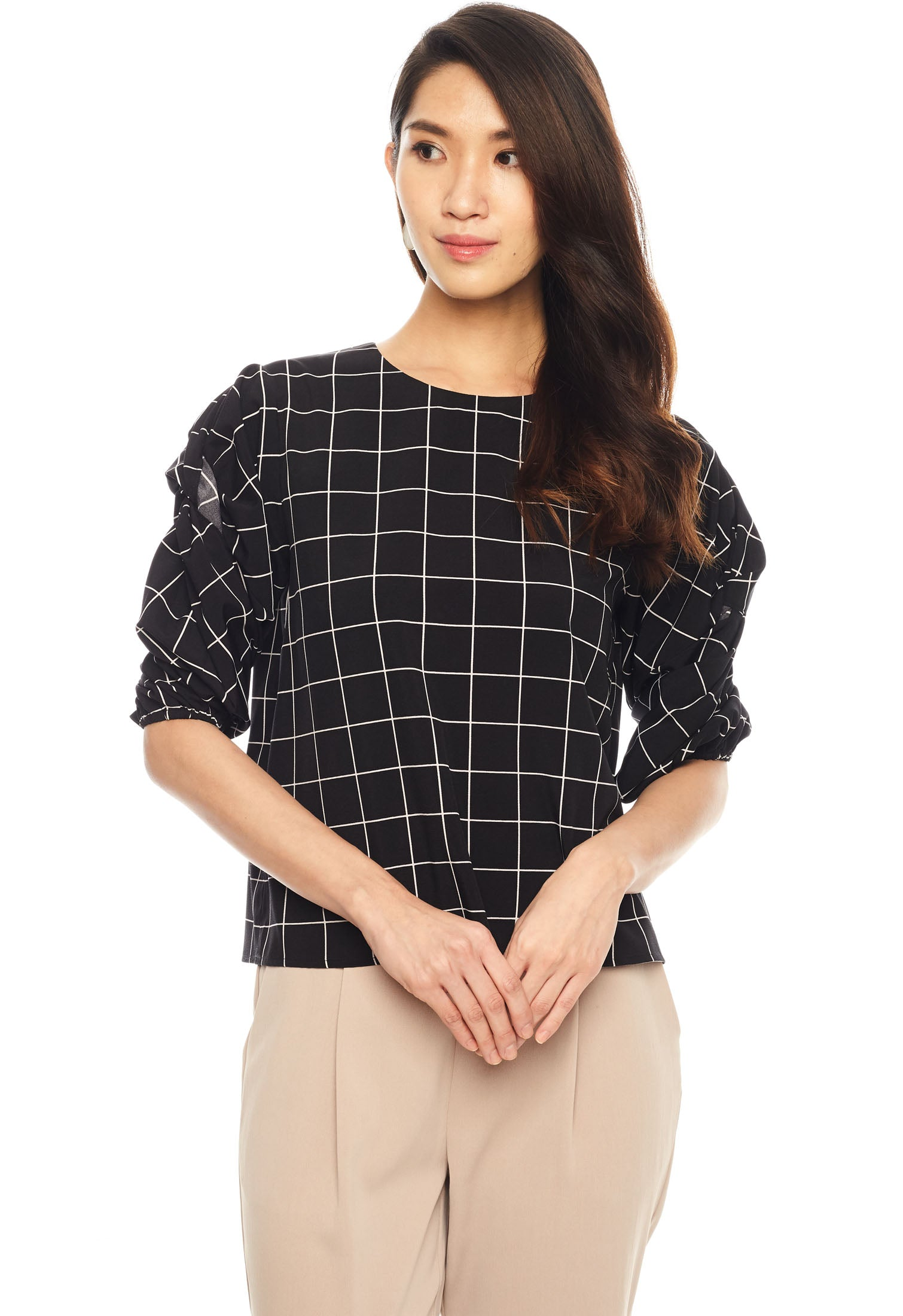 Knotted Pleat Bishop Sleeve Top