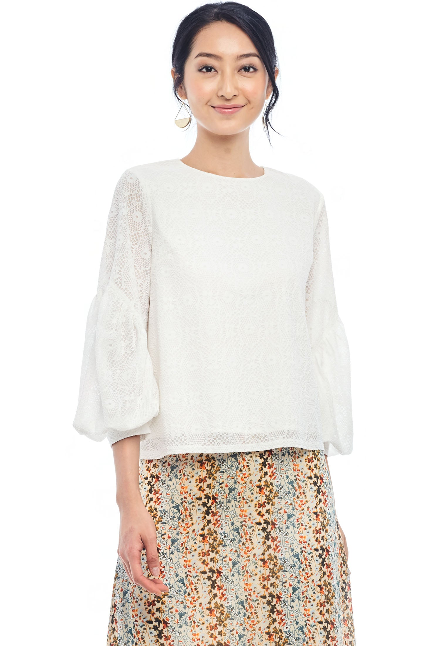 Patterned Knit Trumpet Sleeve Blouse