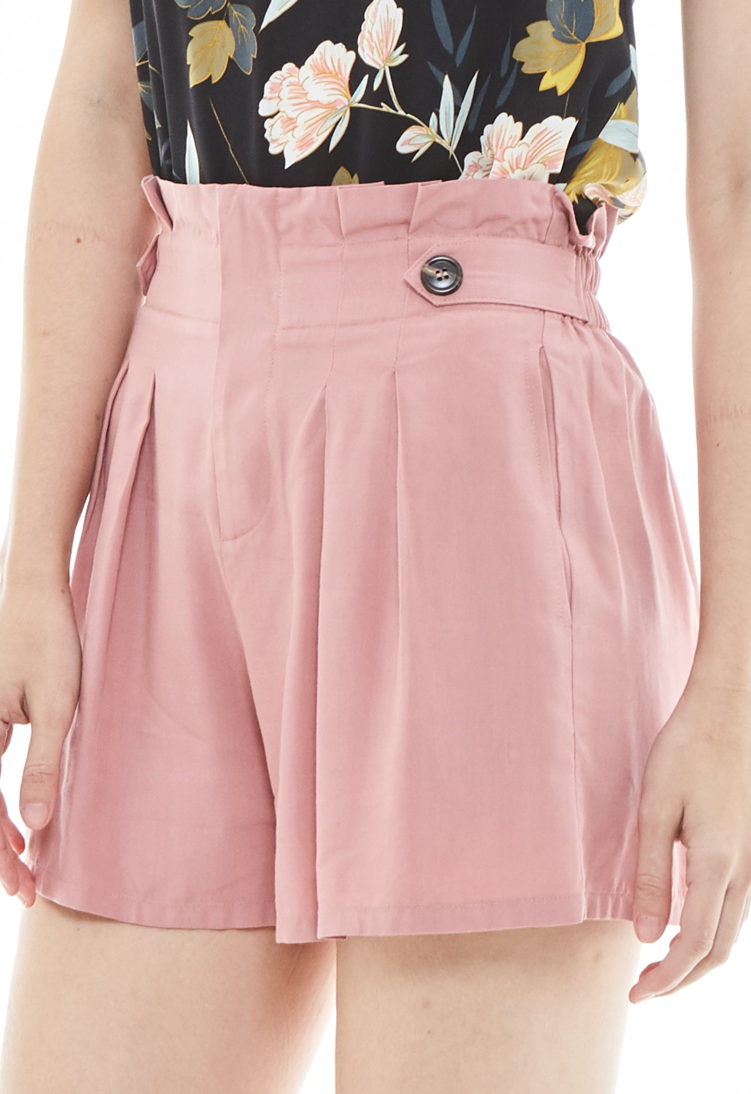 Flared Button Pleated Shorts