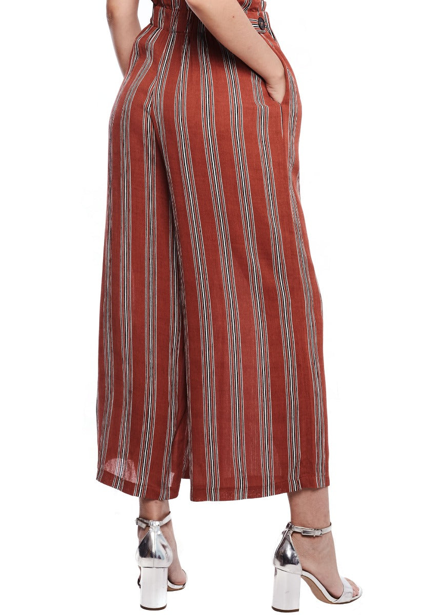 Pencil Stripe Wide Leg Pants