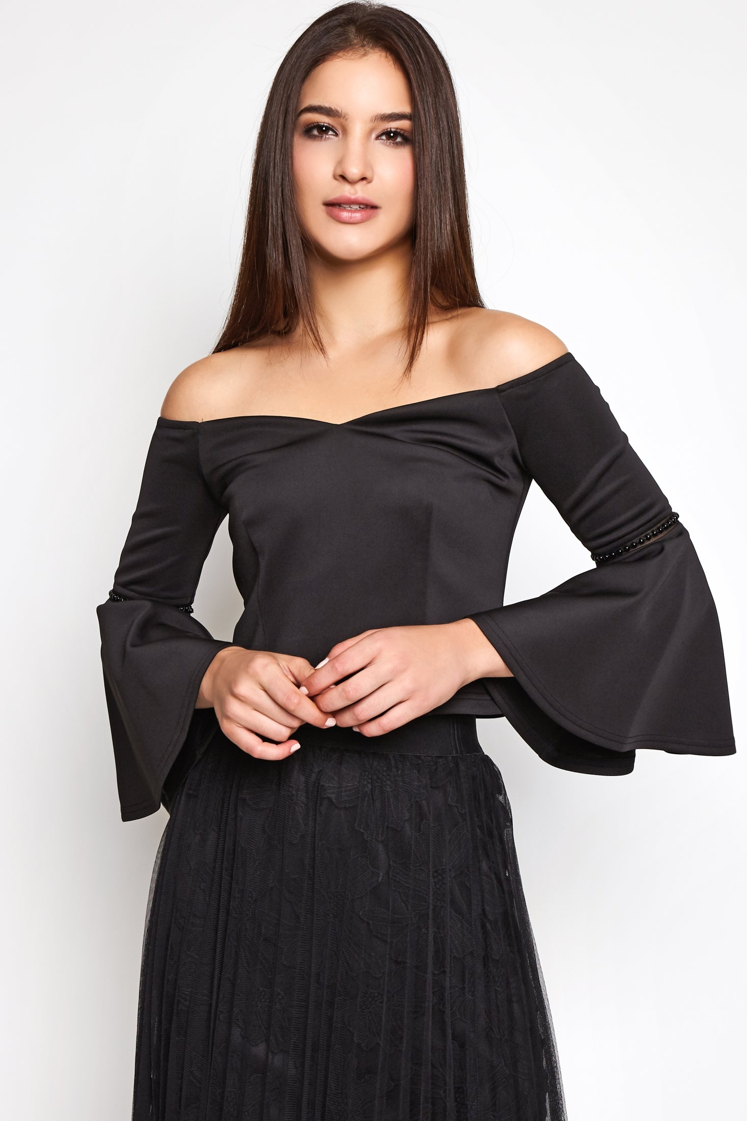 Off Shoulder Long Bell Sleeve Top