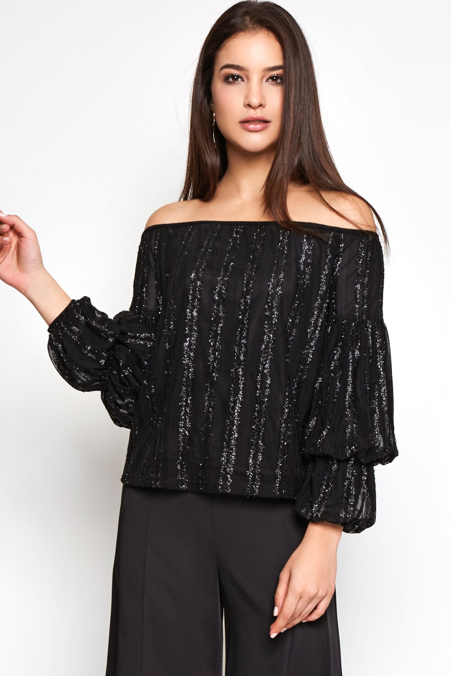 Off Shoulder Netting Detail Top