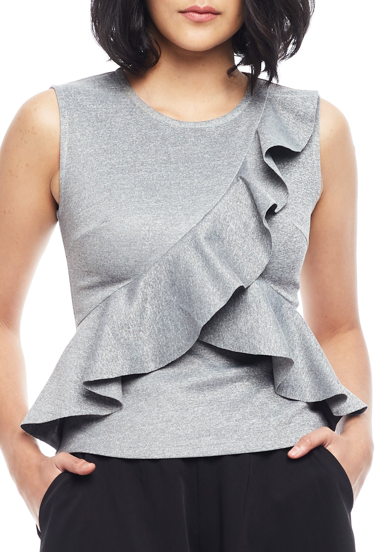 Sleeveless Asymmetric Ruffle Top
