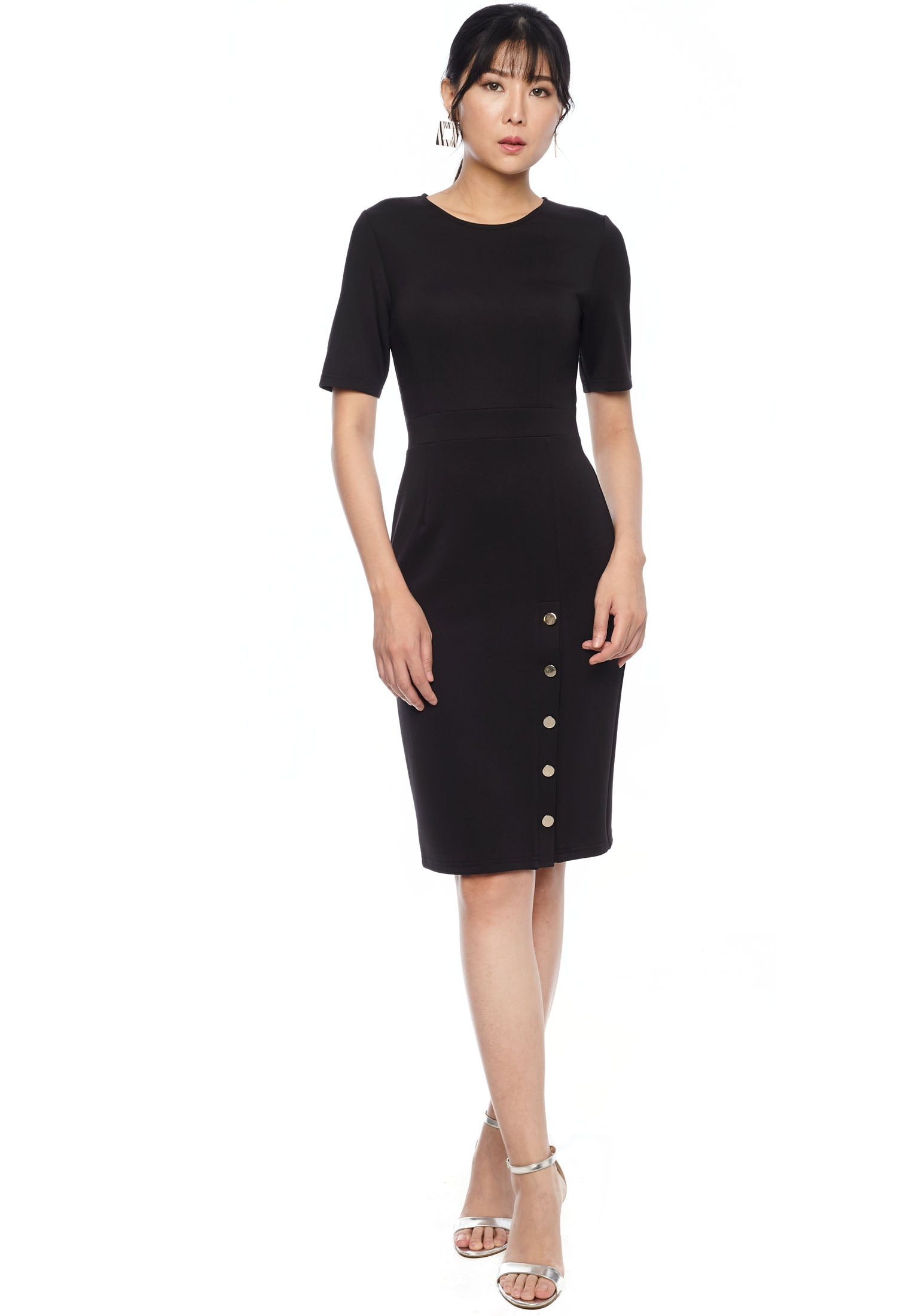 Side Button Midi Dress