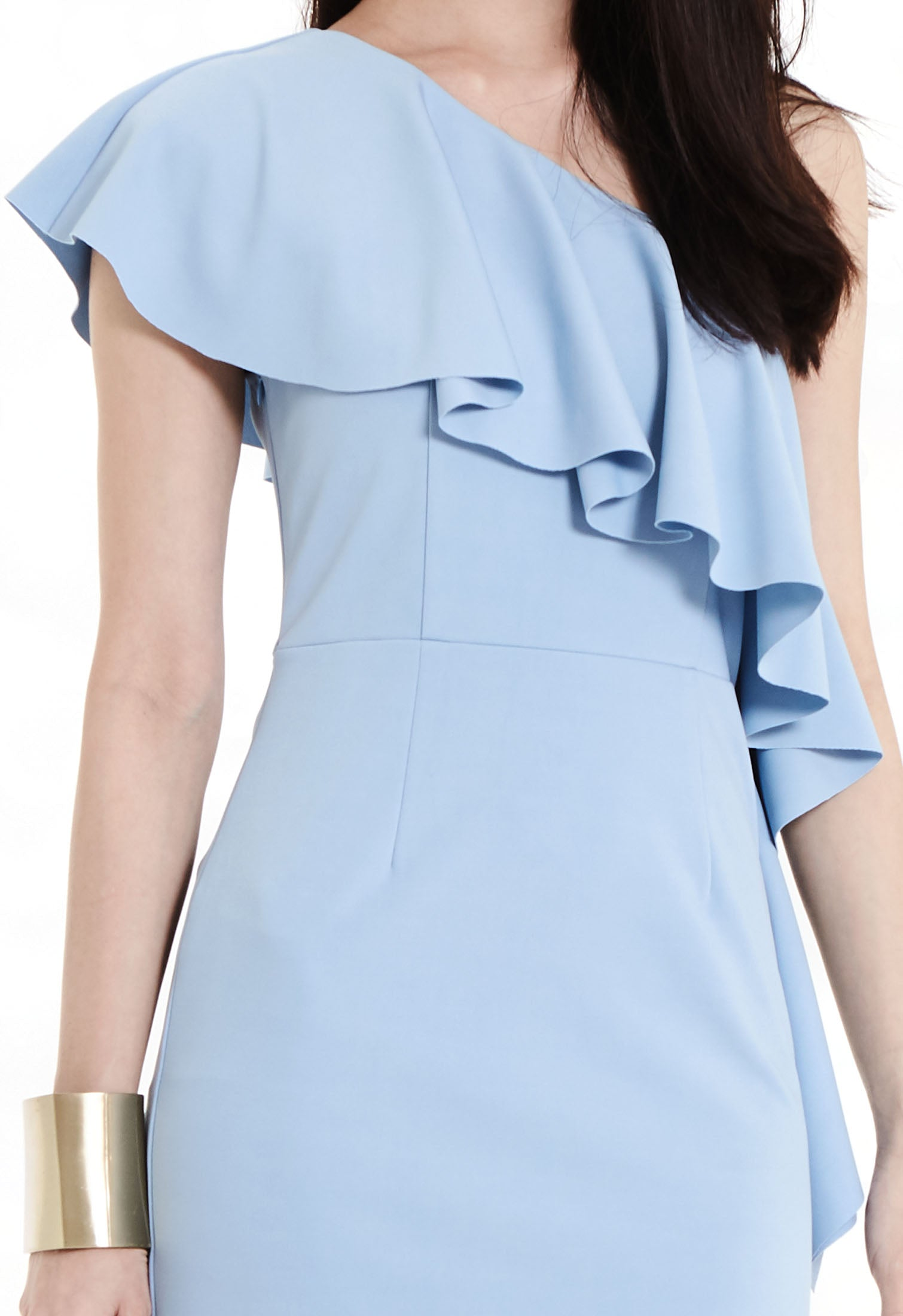 Ruffled One Shoulder Midi Dress