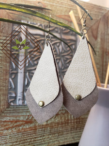 Double Layered Genuine Leather Dangle Earrings