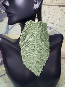Macramé Olive-Toned Natural Feather Earrings
