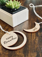 Load image into Gallery viewer, Wooden Tag - Personalized Crescent | Minimal Design | Ramadan Gift Basket | Medallion