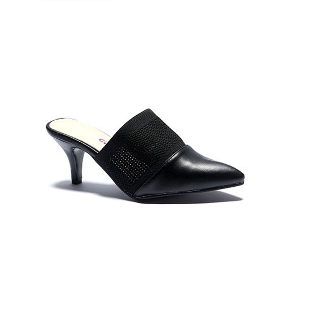 BLACK MULE HEELS COURT SHOES