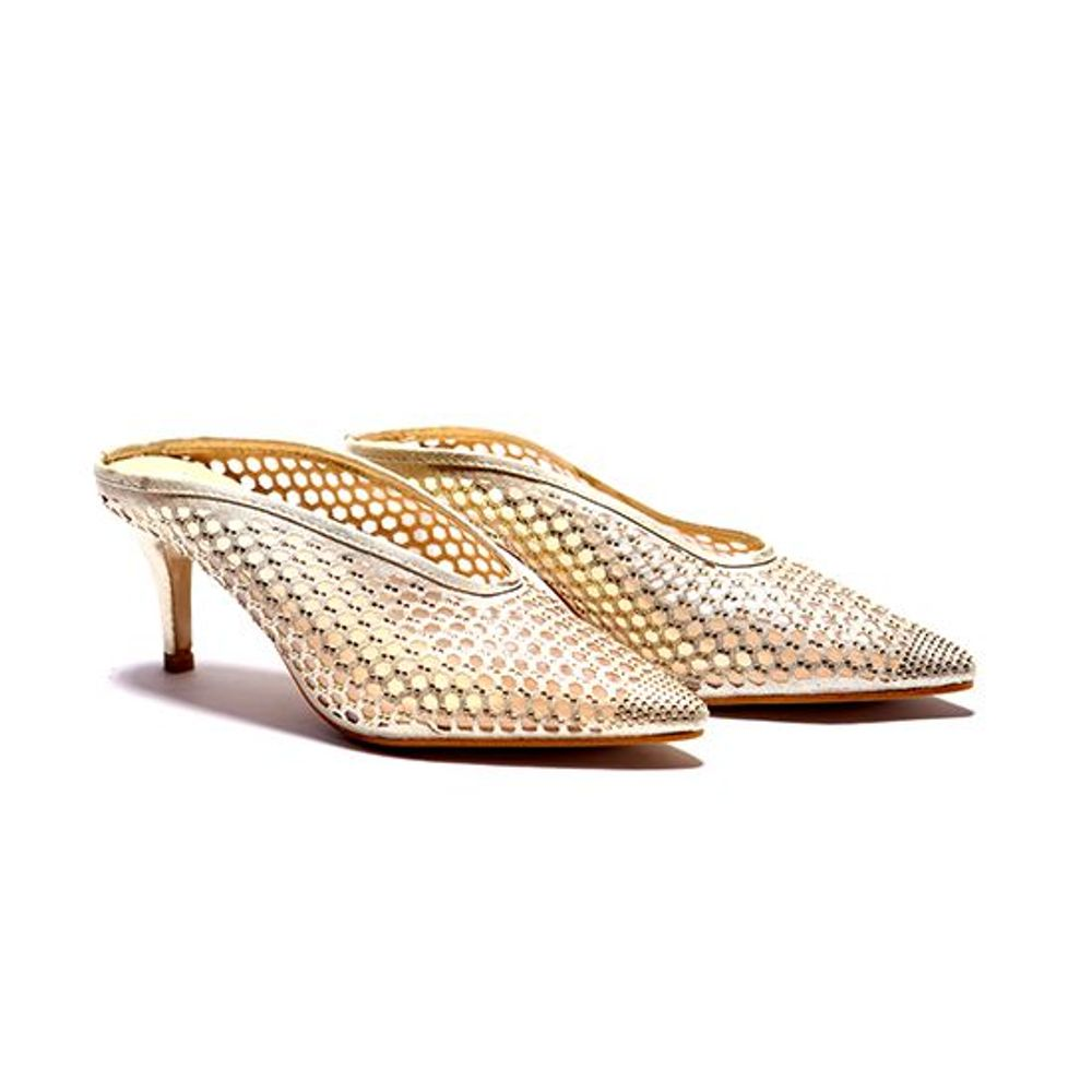 GOLDEN MULE HEELS COURT SHOES