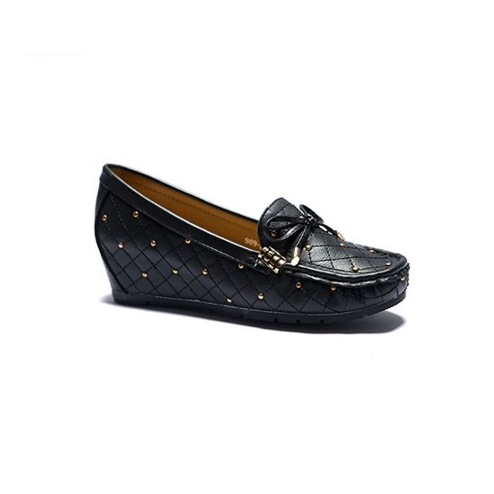 BLACK MOCCASINS WEDGE HEELS SHOES