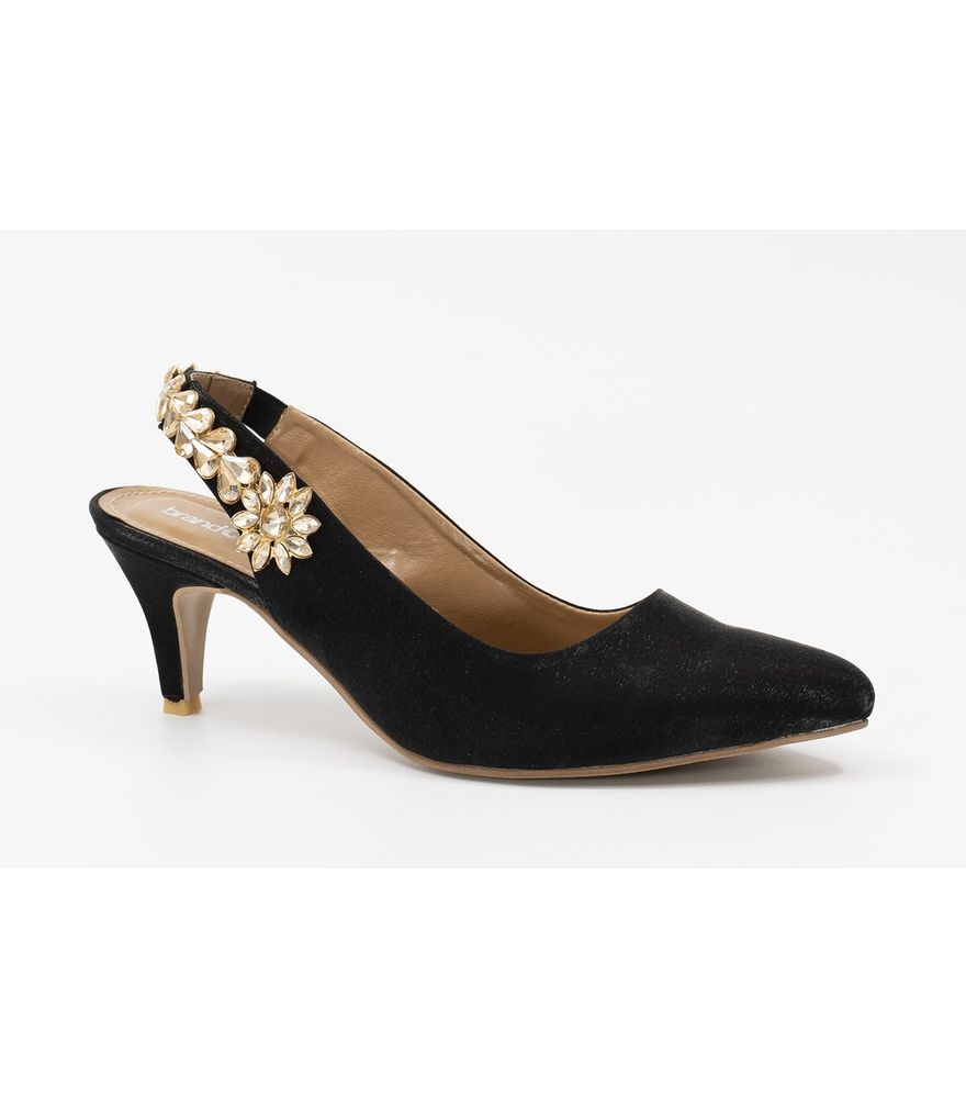 BLACK WOMEN SLINGBACK HEELS  COURT SHOES