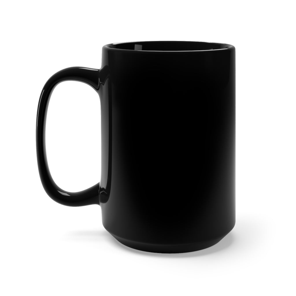 """Blue Feather""<BR>Black Ceramic Mug 15oz"