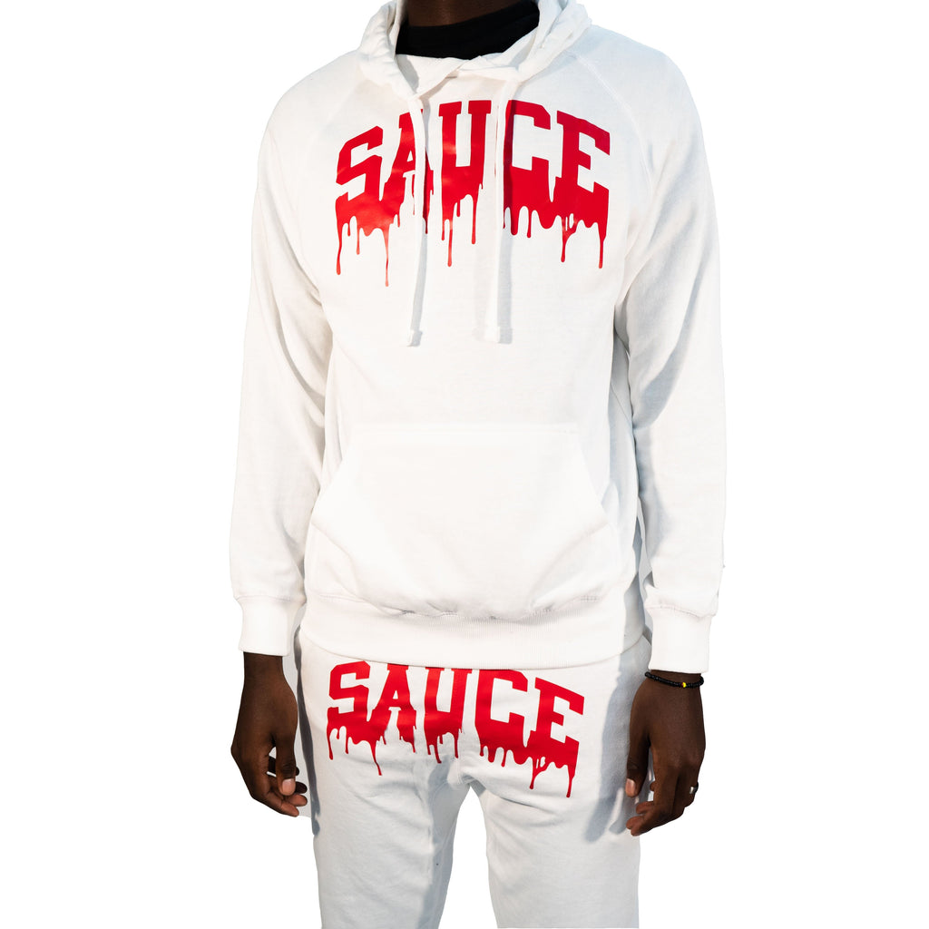 OG SAUCE JOGGERS SET - WHITE/RED