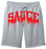 OG SAUCE FLEECE SHORTS - Gray/Red