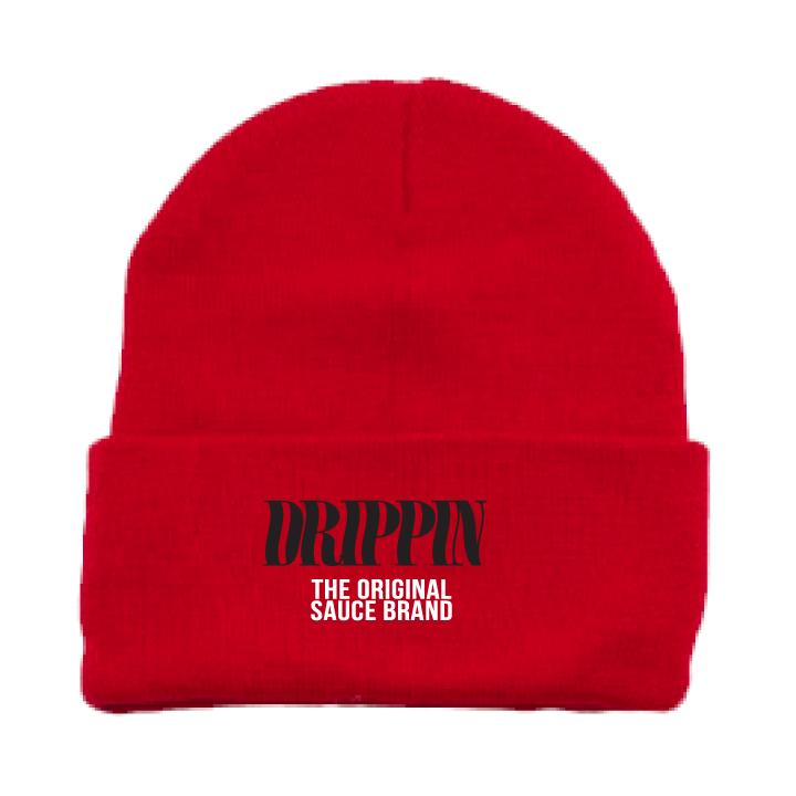 Drippin NOT Slippin BEANIE - RED/BLACK
