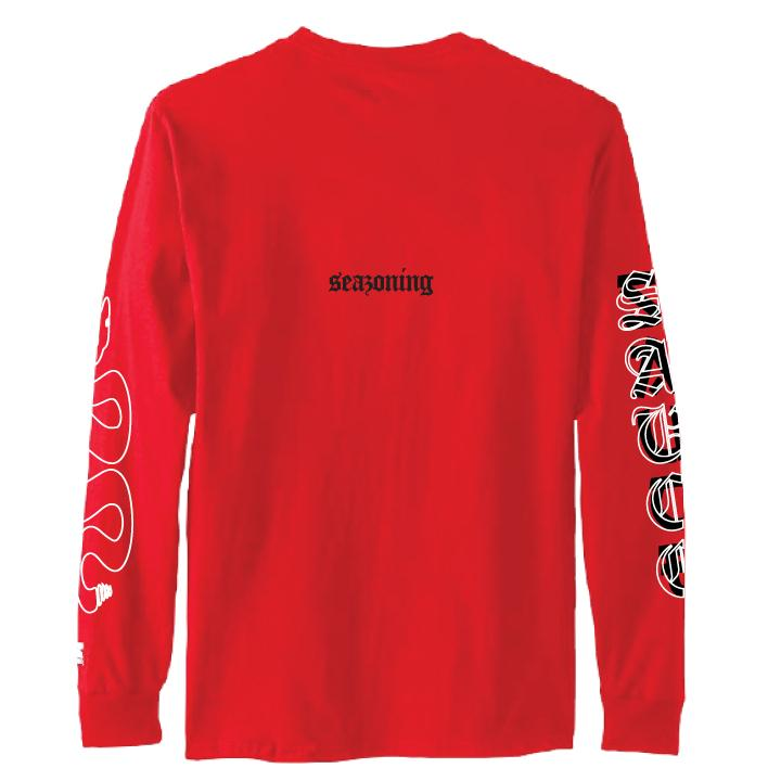 Snake Sauce LS Tee - RED/BLACK