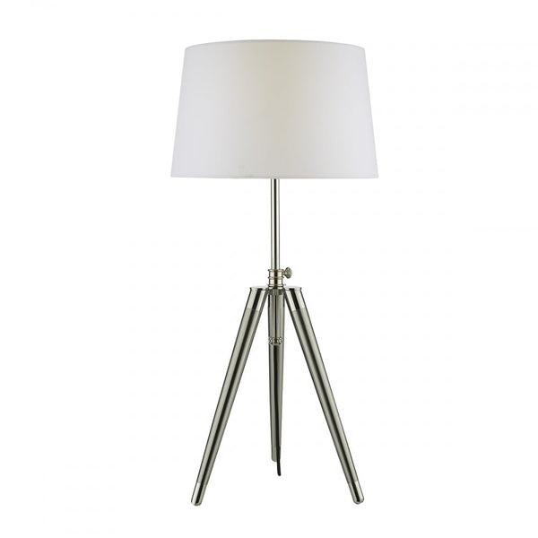 Dar Lighting Dacia Satin Nickel Table Lamp - DAC4238 with Neutral Silk Faux Shade DAR Lighting