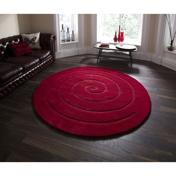 Think Rugs Spiral Red