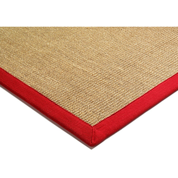 Asiatic Sisal Linen with Red border-corner