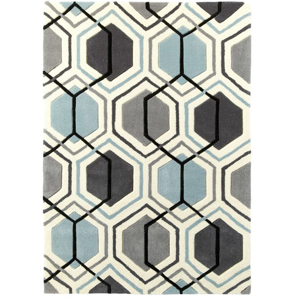 Think Rugs Hong Kong 7526 Grey/Blue Rug
