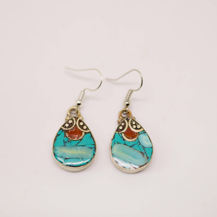 Tibetan Sherpa Earrings with Turquoise, Lapis Lazuli and Coral
