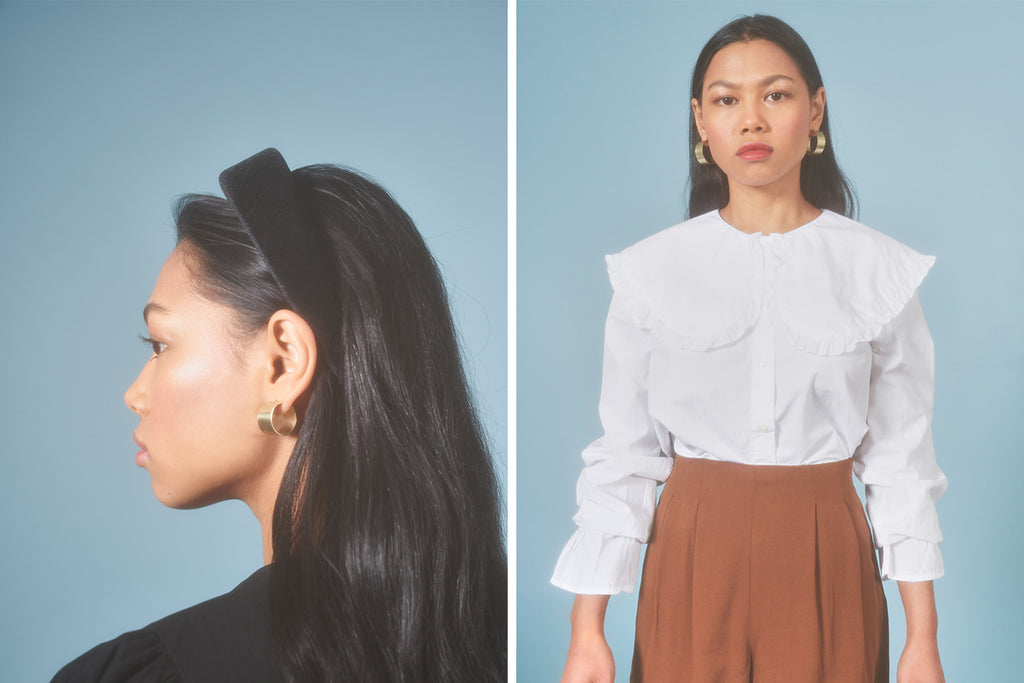 Model wearing the Wide Circle Hoops