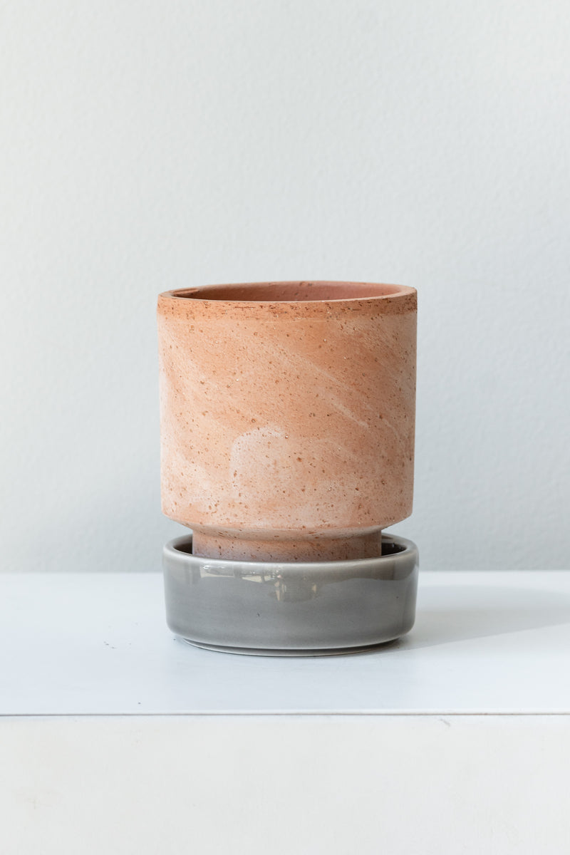 Rosa and pearl 3.1 inch Hoff Pot by Bergs Potter on a white surface in a white room